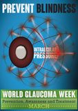 Glaucoma Week Design with Eye Affected for High Intraocular Pressure, Vector Illustration. World Glaucoma Week design with a eyeball in mesh style affected for Royalty Free Stock Image