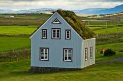Glaumbaer农场的19世纪草皮房子 免版税库存照片