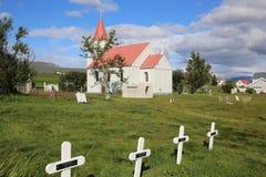 Glaumbaer. Church with Cemetery in Glaumbaer. Iceland Royalty Free Stock Photos