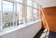 Glazed balcony. With brick wall Royalty Free Stock Photos