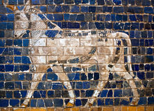 Glazed brick panel with Aurochs - details of the Babylonian Ischtar Tor. Glazed brick panel with Bull - details of the Babylonian Ischtar Tor (Ishtar Gate) in stock image