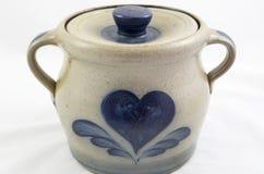 Glazed ceramic bean pot Stock Image
