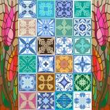 Glazed ceramic mosaic with Moroccan, Spanish, Portuguese motifs. Stock Photo