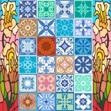 Glazed ceramic mosaic with Moroccan, Spanish, Portuguese motifs. Royalty Free Stock Photography