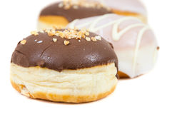 Glazed and chocolate donuts Stock Photo