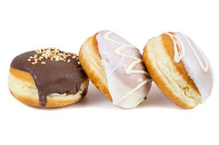 Glazed and chocolate donuts Stock Images