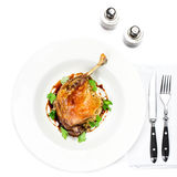 Glazed Christmas roast duck seasoned with oil, herbs, fig and an Royalty Free Stock Image