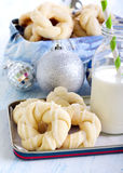 Glazed Christmas wreaths biscuits Stock Image