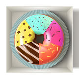 Glazed colored donut in the box 3D. Vector Illustration Royalty Free Stock Images