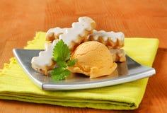 Glazed cookies with ice cream Stock Images