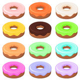 12 glazed detailed donuts Royalty Free Stock Photo