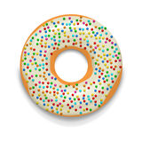Glazed donut with candies icon, cartoon style. Glazed donut with candies icon in cartoon style on a white background Stock Images