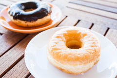Glazed donut and chocolate coating donut Stock Photo