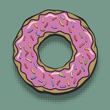 Glazed Donut Pop Art Poster. Glazed Donut in Comic Book Style. Vintage Colored Doughnut with Pink Topping Sign. Bakery or Cafe Pop Art Poster. Vector Stock Photos