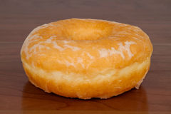 Glazed Donut In Detail. Glazed Donut Close Up In Detail stock photo