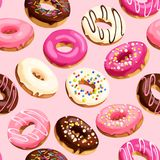Glazed donuts seamless. Colorful glazed donuts with confectionery sprinkling vector seamless background Royalty Free Stock Photos