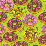 Glazed donuts of seamless pattern Stock Image