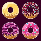 Glazed donuts set. Set of four assorted glazed donuts with icing and sprinkles. Coloured line art drawing. Vector graphics illustration. Editable vector shapes Stock Photos