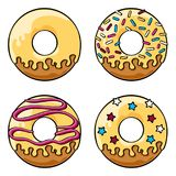 Glazed donuts set. Set of four glazed donuts with icing and sprinkles. Coloured line art drawing. Vector graphics illustration. Editable vector shapes Royalty Free Stock Image