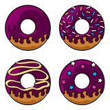 Glazed donuts set. Set of four glazed donuts with icing and sprinkles. Coloured line art drawing. Vector graphics illustration. Editable vector shapes Stock Photo