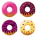 Glazed donuts set. Set of four glazed donuts with icing and sprinkles. Flat style vector graphics illustration. Editable vector shapes Stock Photos