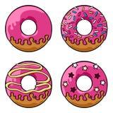 Glazed donuts set Royalty Free Stock Images