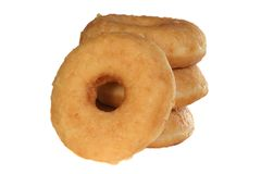 Glazed dougnuts. Stack of glazed doughnuts on a white background Royalty Free Stock Images