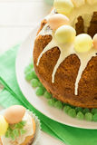 Glazed Easter cake decorated candy eggs Stock Images