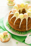 Glazed Easter cake decorated candy eggs Royalty Free Stock Images