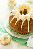 Glazed Easter cake decorated candy eggs Stock Photography