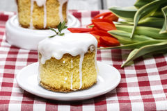 Glazed easter cake on squared table cloth Royalty Free Stock Images