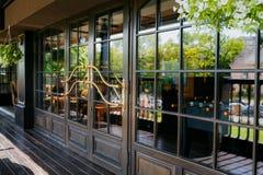 Glazed entrance to the restaurant Royalty Free Stock Photos