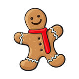 Glazed gingerman, Christmas gingerbread cookie. Glazed gingerman-shaped homemade Christmas gingerbread cookie, sketch style vector illustration isolated on white vector illustration