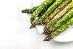 Glazed green asparagus Stock Image
