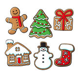 Glazed homemade Christmas gingerbread cookies. Set of glazed homemade Christmas gingerbread cookies, sketch style vector illustration isolated on white Stock Photos