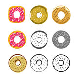 Glazed icing donuts vector icons set isolated on white background. Donuts vector icons set isolated on white background, flat glazed donut, cartoon pink cream Stock Image