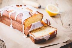 Glazed lemon pound cake Stock Images