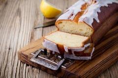 Glazed lemon pound cake Royalty Free Stock Photo