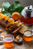 Tangerine cake with tea royalty free stock images