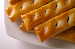 Glazed puff pastry in a dish royalty free stock photo