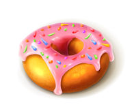 Glazed ring doughnut. Detailed vector, isolated on white background Stock Images