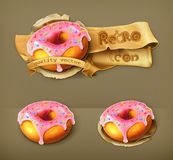 Glazed ring doughnuts vector icons. Glazed ring doughnuts, retro vector icons Royalty Free Stock Photo