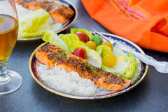 Glazed salmon with apricot jam and mustard. Glazed salmon with apricot jam, soy sauce and mustard Royalty Free Stock Photography