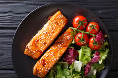 Glazed salmon fillet and fresh vegetable salad close-up on the t Royalty Free Stock Photography