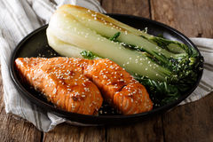 Glazed salmon fillet with sesame seeds and roasted cabbage bok c Royalty Free Stock Photography