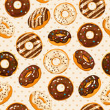 Glazed and sugar powdered vector chocolate donuts seamless texture Royalty Free Stock Photos