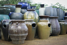 Glazed terracotta pots Stock Photo