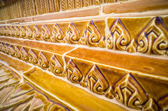Glazed tile traditional Thai art of church in temple Royalty Free Stock Photos