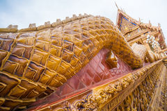 Glazed tile traditional Thai art of church in temple Royalty Free Stock Photo