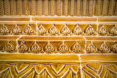 Glazed tile traditional Thai art of church in temple Stock Image